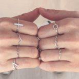 Anillos círculo, laurel, nudo,barra, V, doble T y triángulo en plata