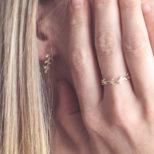 Anillo laurel y pendiente trepador laurel en oro