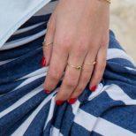 Anillo ola, anillo nudo y anillo turquesa en plata bañada en oro