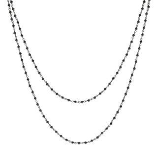 Collar rosario doble vuelta piedra semipreciosa en plata oxidada