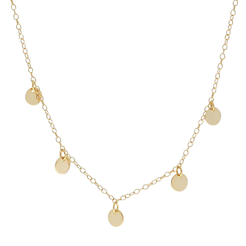 Collar 5 medallitas plata bañada en oro