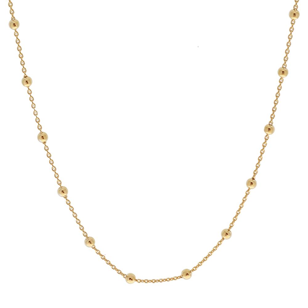 d2a862c335dc Collar cadena con bolitas plata bañada en oro - Nomada Artesanía