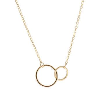 Collar doble círculo plata bañada en oro