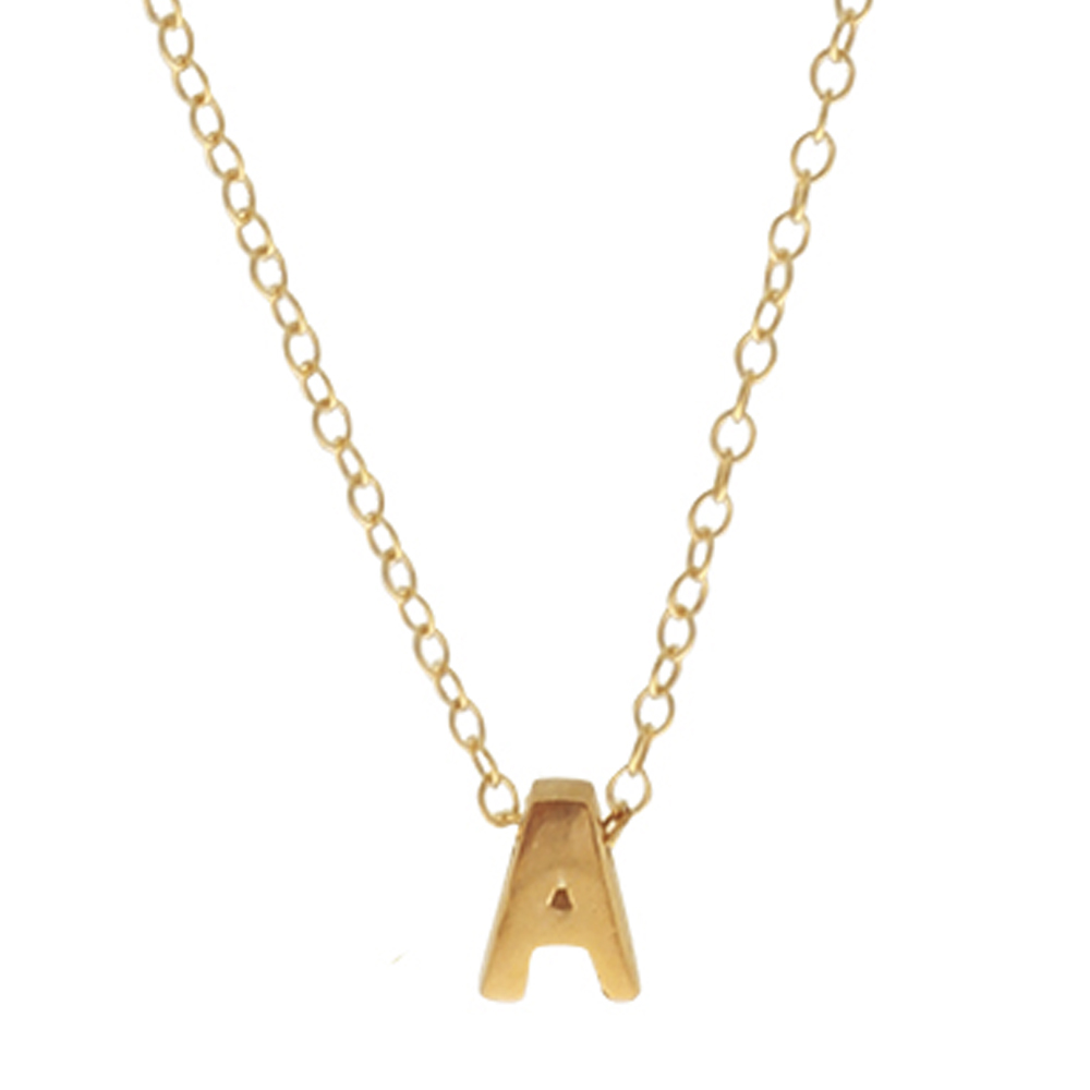 Collar inicial plata bañada en oro