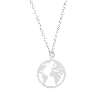Collar mundo en plata 12 mm de primera ley