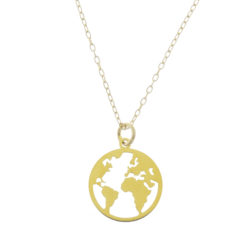 Collar mundo plata bañada en oro 12 mm