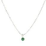 Collar piedra semipreciosa 4mm en plata Onix verde