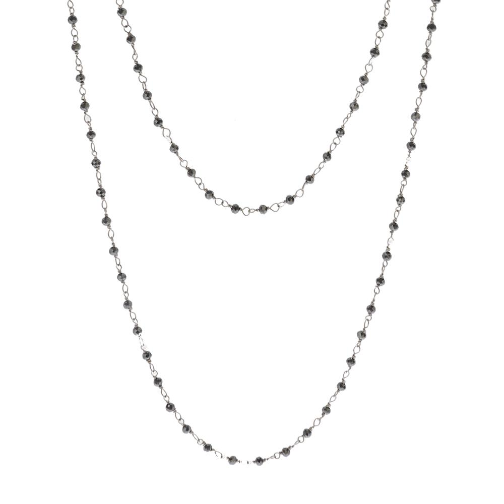 Collar rosario doble vuelta piedra semipreciosa en plata