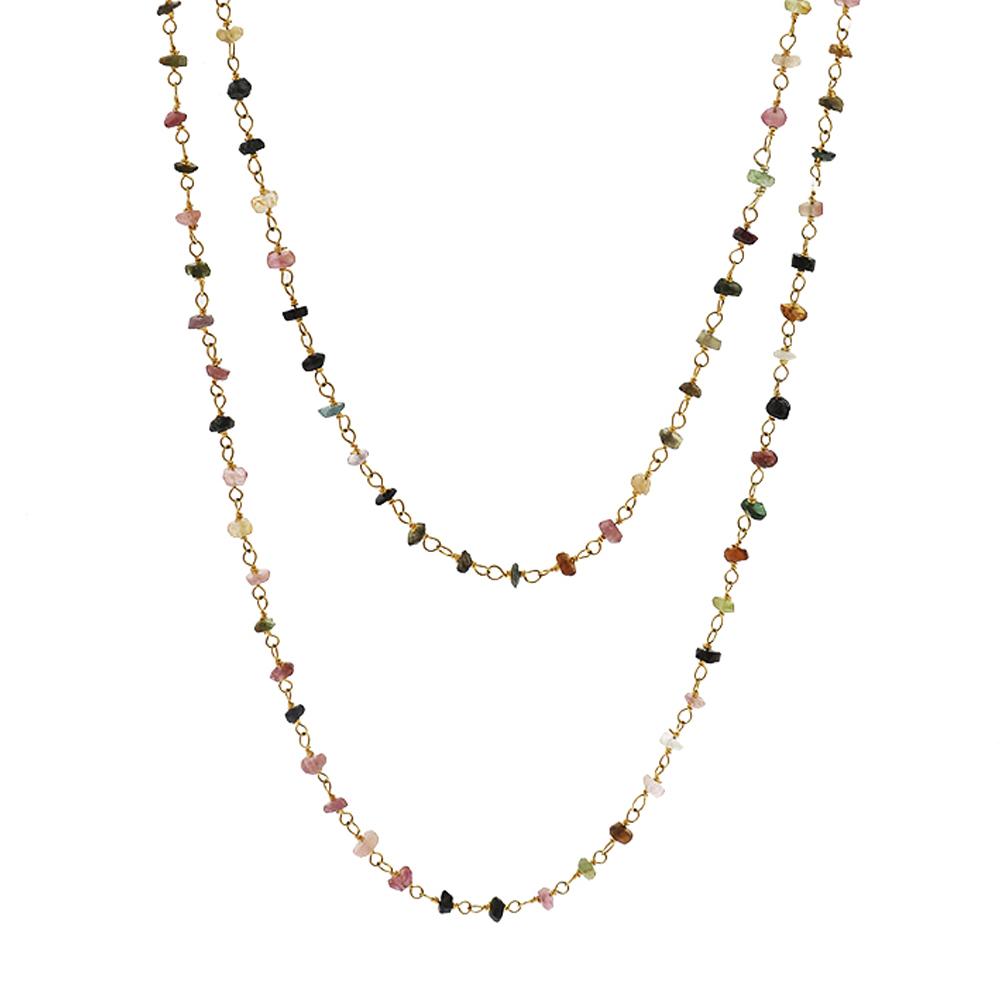 Collar rosario doble vuelta piedra semipreciosa plata bañada en oro