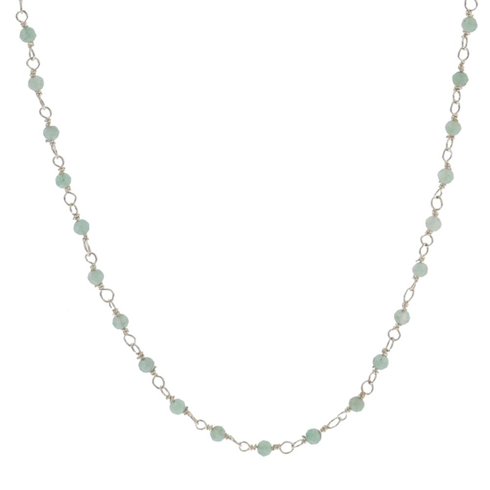Collar rosario piedra semipreciosa en plata