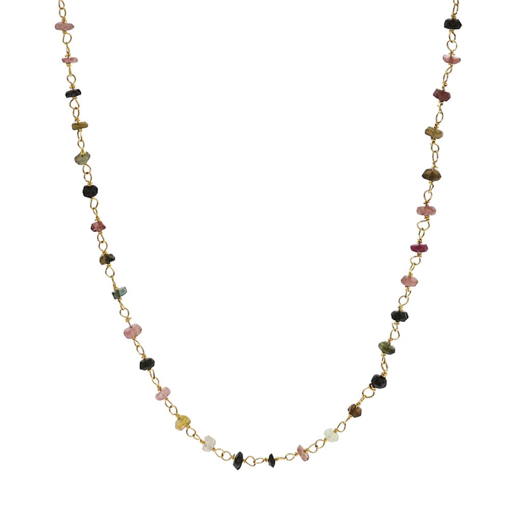 Collar rosario piedra semipreciosa plata bañada en oro