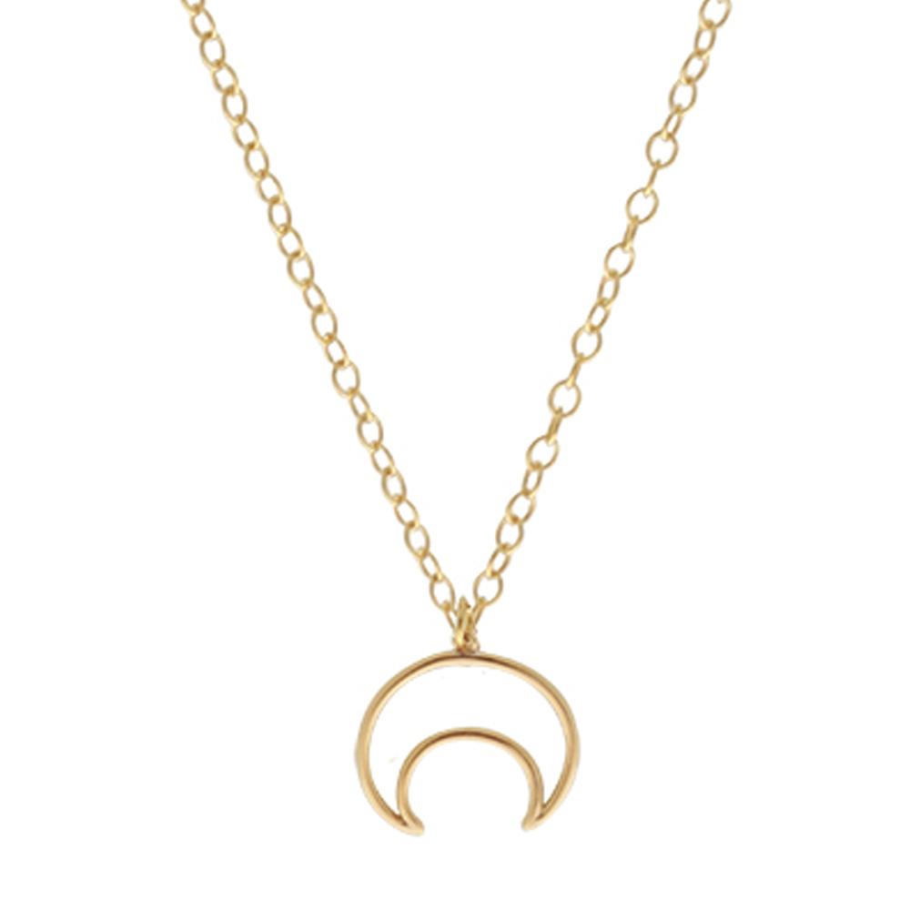 Collar silueta luna invertida plata bañada en oro