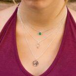 Collar bola diamantada con piedra semipreciosa 6 mm onix verde, collar mundo 15 mm y collar símbolo mujer en plata