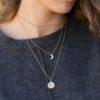 Collar cadena bolitas, Collar sol 16 mm y collar luna en plata bañada en oro