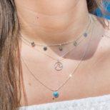 Collar medallitas, collar ola y collar piedra semipreciosa 6mm en plata