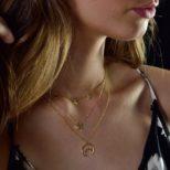 Collar silueta luna, collar estrella y collar medallitas plata bañada en oro