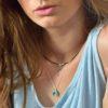 Collar cuerno de turquesa y collar de cuero con atrapasueños en plata