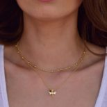 Collar libélula y piedra semipreciosa y collar bolitas en plata bañada en oro