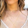 Collar medallitas, collar luna invertida y collar piedra semipreciosa 6mm en oro