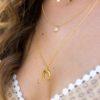 Collar luna invertida y collar piedra de 6mm en oro