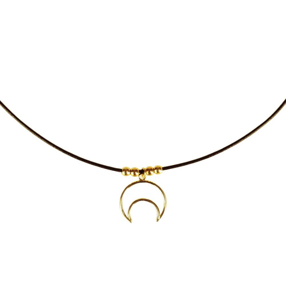 Collar de cuero y luna silueta plata bañada en oro