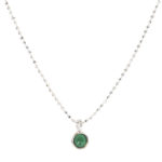 Collar piedra semipreciosa 6mm en plata onix verde