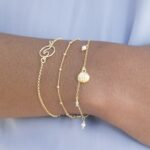 Pulsera ola y pulsera cadena con bolitas mini plata bañada en oro