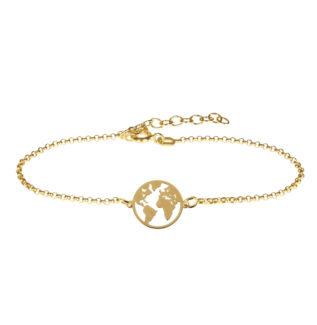 Pulsera mundo plata bañada en oro