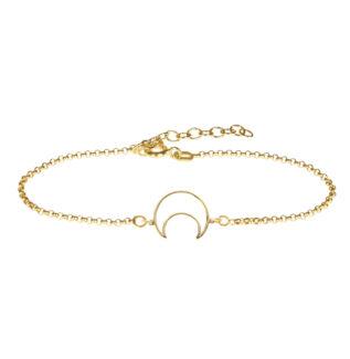 Pulsera silueta luna plata bañada en oro