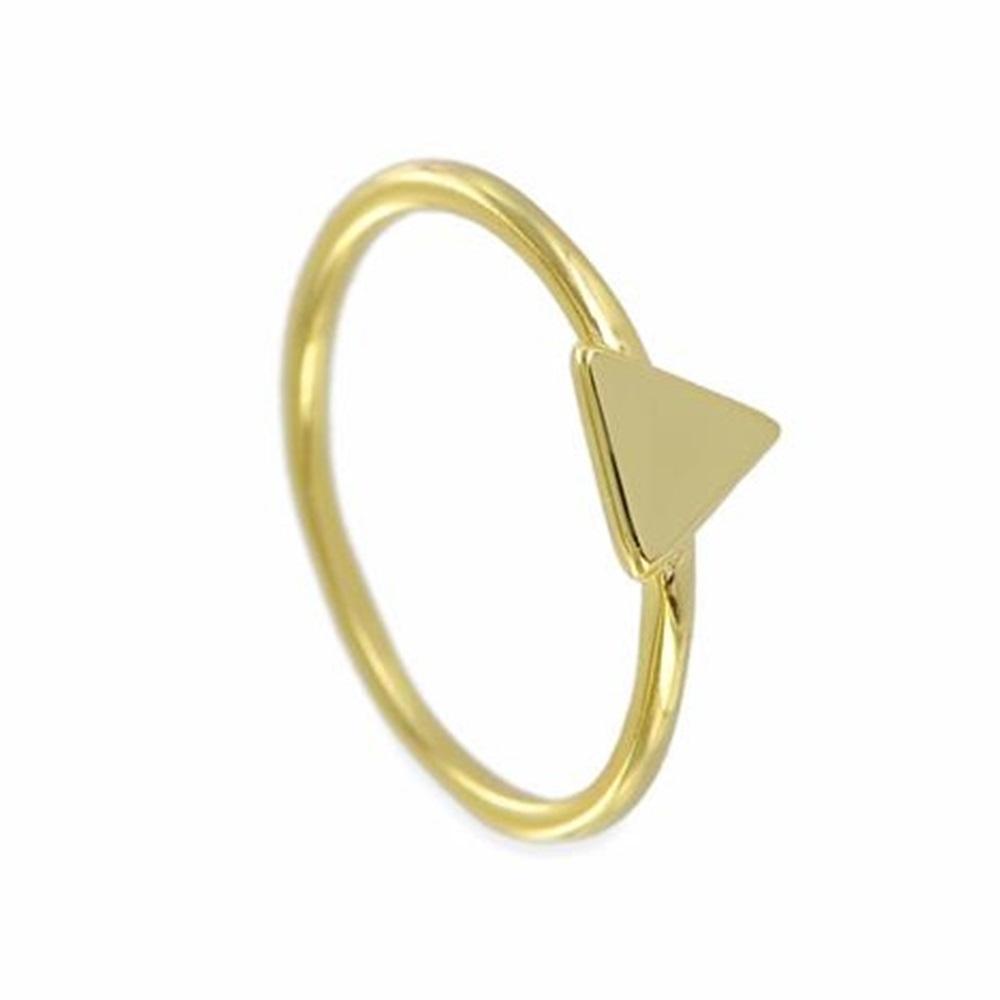 Anillo triángulo plata bañada en oro