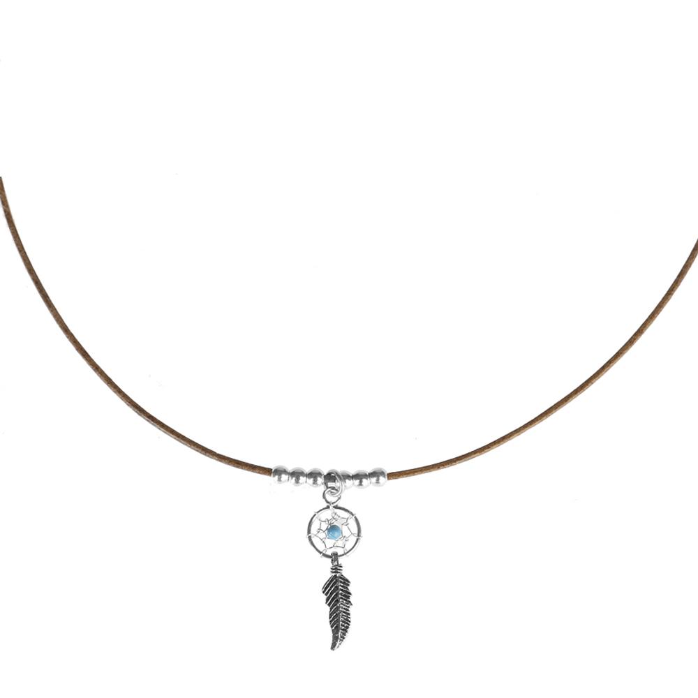 Collar de cuero con atrapasueños en plata y turquesa