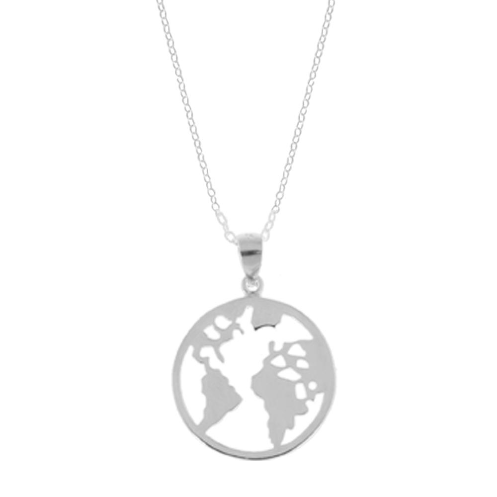 Collar mundo en plata 20 mm