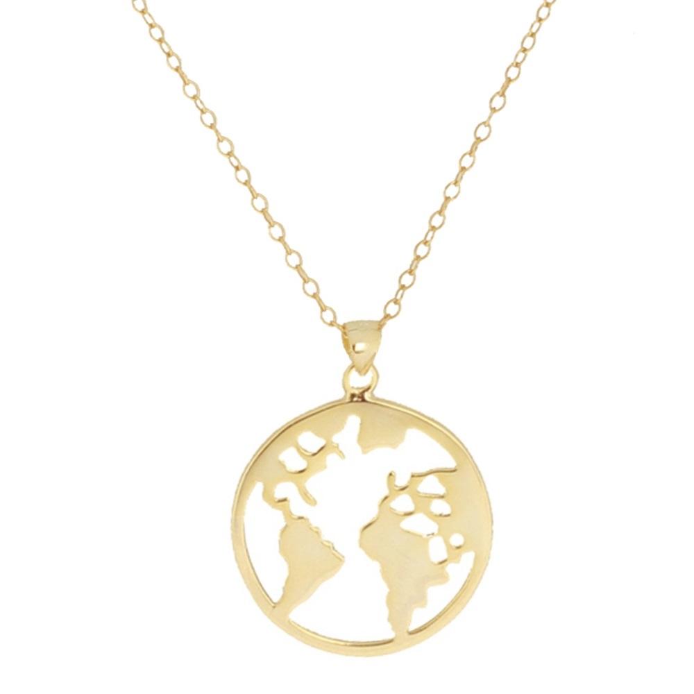Collar mundo plata bañada en oro 20 mm
