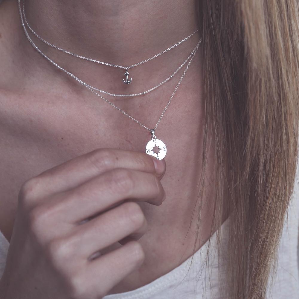 108b0a2eb73c Collar rosa de los vientos en plata - Nomada Artesanía