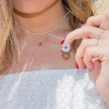 Collar rosa de los vientos, collar ancla y collar bolitas en plata