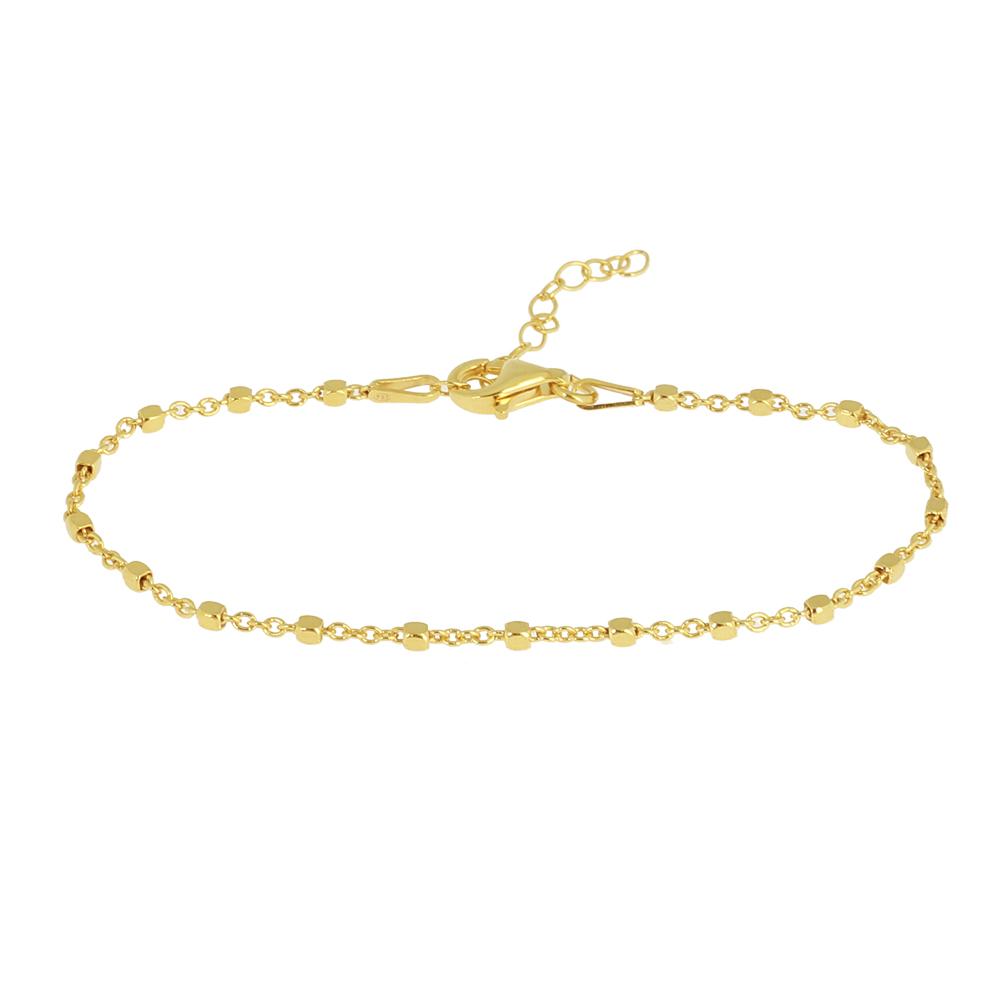 fe5d256ed5b9 Pulsera cadena con cubitos plata bañada en oro - Nomada Artesanía