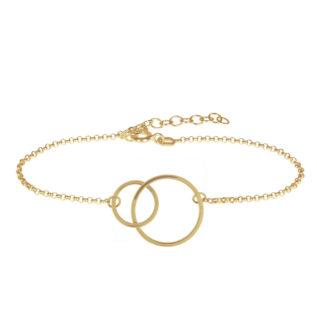 Pulsera doble círculo plata bañada en oro