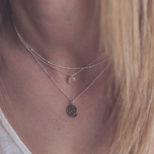 Collar panot Barcelona, collar bolitas y collar bola diamantada con piedra 6mm en plata