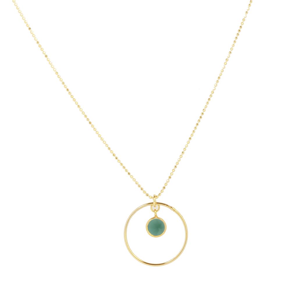 Collar de círculo en plata bañada oro y piedra semipreciosa