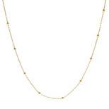 Collar cadena con bolitas mini plata bañada en oro