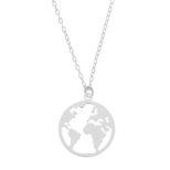 Collar mundo en plata 15 mm