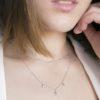 Collar cadena con bolitas mini, choker estrella polar zirconitas en plata