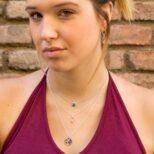 Collar mundo 15 mm, collar símbolo mujer y collar bola diamantad con piedra semi preciosa onix verde en plata