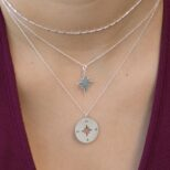 Collar cadena con cubitos, collar estrella polar y collar rosa de los vientos 14mm en plata