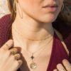 Collar bolitas mini, collar estrella polar y collar rosa de los vientos 14 mm en plata bañada en oro
