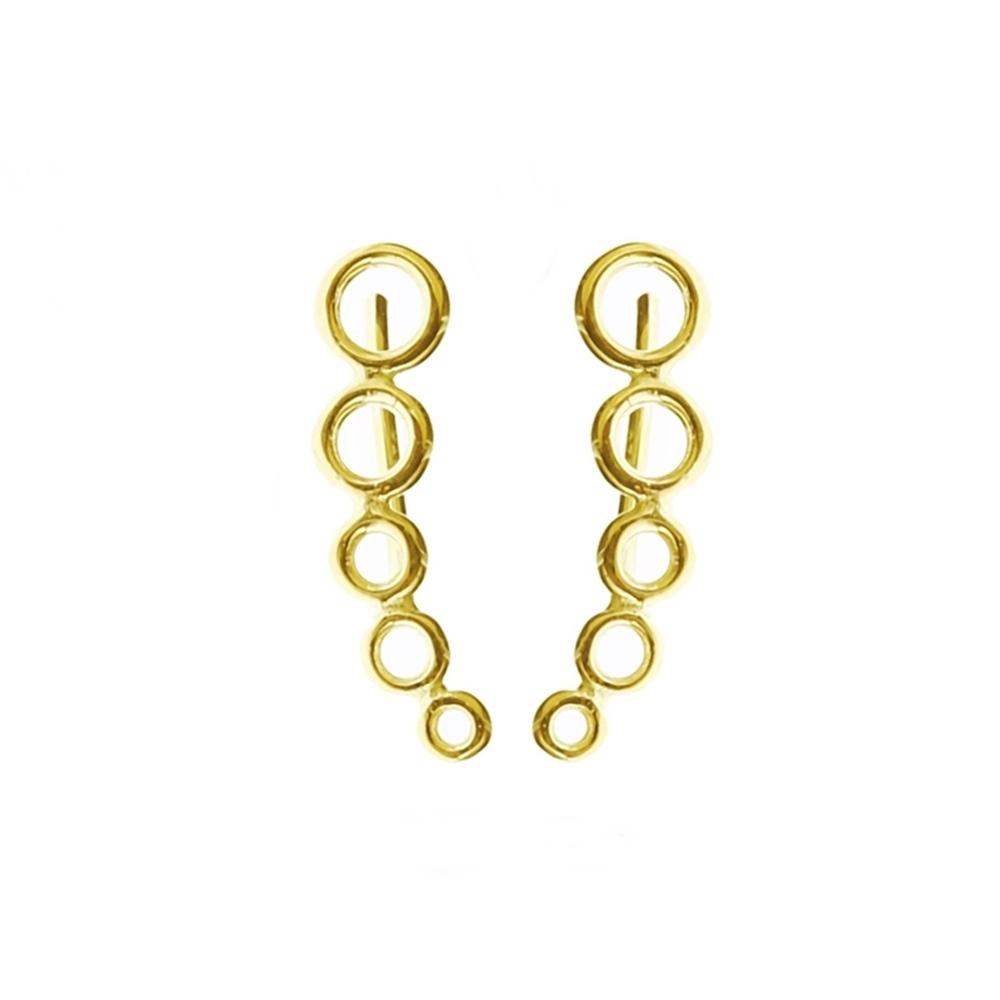 Pendientes trepadores aros de círculos plata bañada en oro