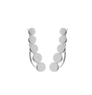 Pendientes trepadores de círculos en plata