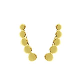 Pendientes trepadores de círculos plata bañada en oro