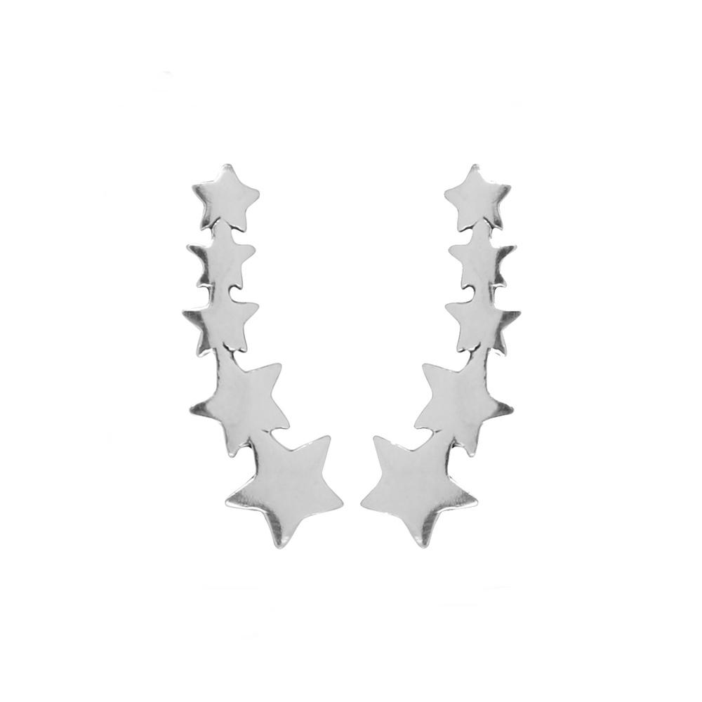 Pendientes trepadores de estrellas en plata