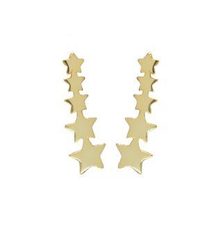 Pendientes trepadores de estrellas plata bañada en oro